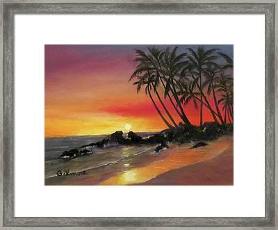 Tropical Sunset Framed Print by Roseann Gilmore