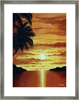 Framed Print featuring the painting Tropical Sunset by Wayne Pascall