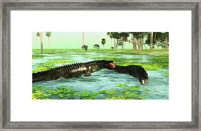 Tropical Uberabasuchus Marine Reptiles Framed Print