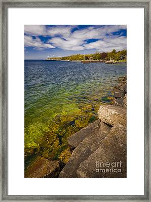Tropical Waters Of Door County Wisconsin Framed Print by Mark David Zahn