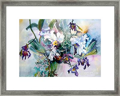 Tropical White Orchids Framed Print by Mindy Newman