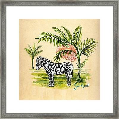 Tropical Zebra Framed Print by John Keaton