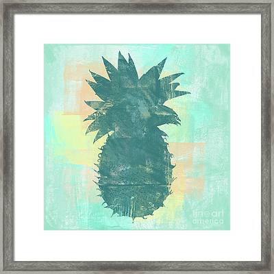 Tropicalifornia, Sponge Painted Abstract Tropical Pineapple Framed Print