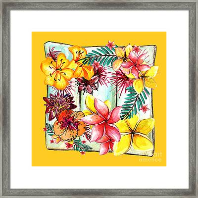 Tropicana On Yellow By Kaye Menner Framed Print