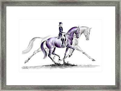 Trot On - Dressage Horse Print Color Tinted Framed Print by Kelli Swan