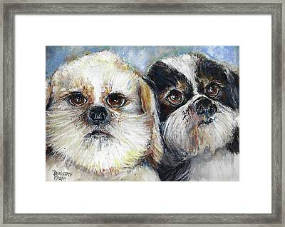 Framed Print featuring the painting Trouble And Lexi by Bernadette Krupa