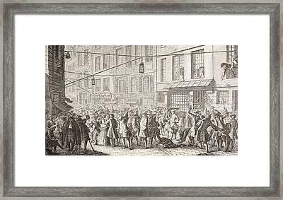 Trouble In The Rue Quincampoix, Paris Framed Print