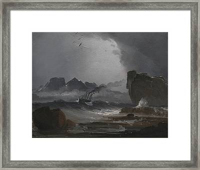 Troubled Sea With A Steamer Near The Norwegian Coast Framed Print