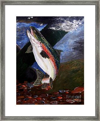 Framed Print featuring the painting Trout Bedding by Ayasha Loya