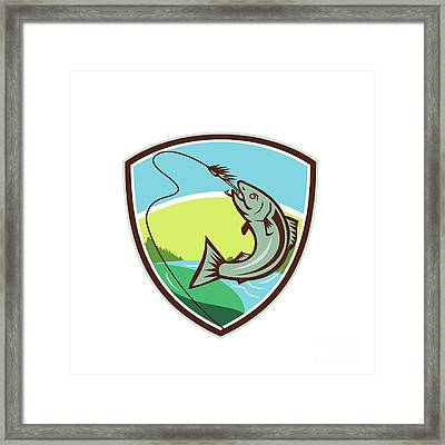 Trout Biting Hook Lure Shield Retro Framed Print