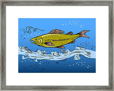 Trout Fish Swimming Underwater Framed Print by Aloysius Patrimonio
