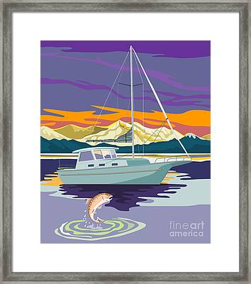 Trout Jumping Boat Framed Print by Aloysius Patrimonio