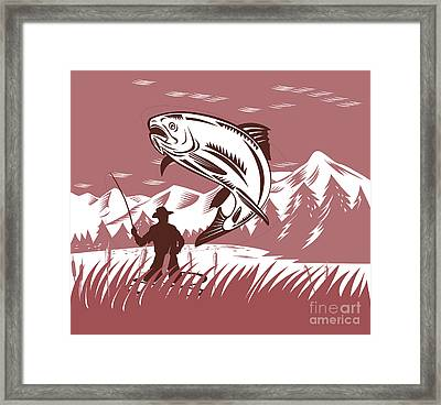 Trout Jumping Fisherman Framed Print by Aloysius Patrimonio