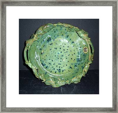 Trout Pattern Glaze Bowl With Leaves Framed Print by Carolyn Coffey Wallace