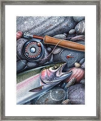 Trout Reel On Rocks Framed Print