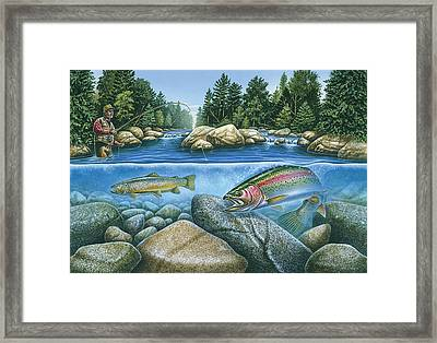 Trout View Framed Print by JQ Licensing