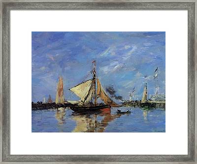 Trouville The Jettys High Tide 1890 Framed Print