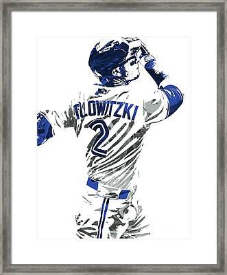 Framed Print featuring the mixed media Troy Tulowitzki Toronto Blue Jays Pixel Art 2 by Joe Hamilton