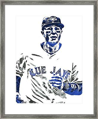 Framed Print featuring the mixed media Troy Tulowitzki Toronto Blue Jays Pixel Art by Joe Hamilton
