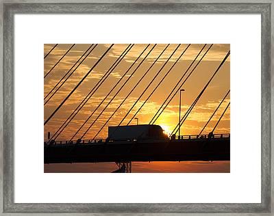 Truck Crossing The Mississippi River Framed Print