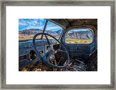 Truck Desert View Framed Print by Peter Tellone