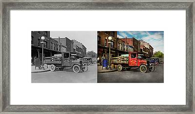 Framed Print featuring the photograph Truck - Home Dressed Poultry 1926 - Side By Side by Mike Savad