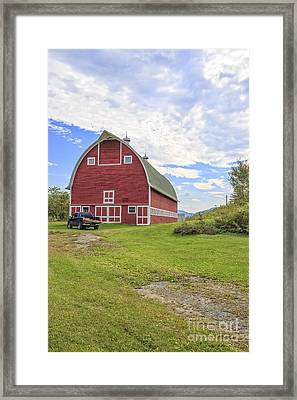 Truck In Front Of Classic Old Red Barn In Vermont Framed Print