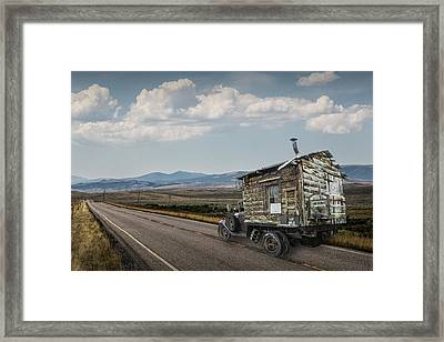 Truck Motor Home Traveling On The Road Framed Print