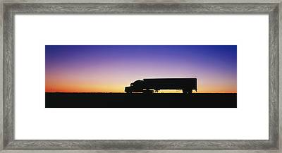 Truck Parked On Freeway At Sunrise Framed Print by Jeremy Woodhouse