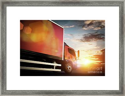 Truck Speeding On The Highway. Transportation Framed Print