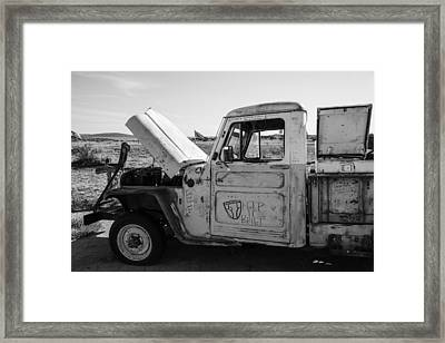 Truck With Hood Up On Route 66 Framed Print