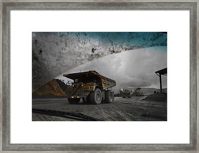 Trucks Hauling Waste Rock At Batu Framed Print by Randy Olson