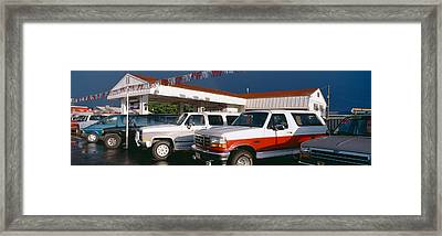 Trucks In Used Car Lot, St. George, Utah Framed Print by Panoramic Images