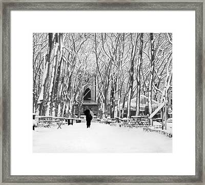 Trudging Through The Snow Framed Print by Andrew Kazmierski