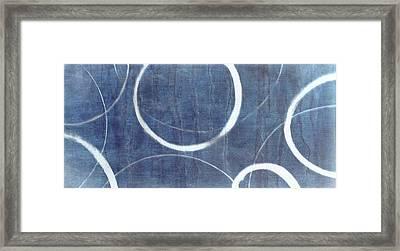 Framed Print featuring the painting True Blue Ensos by Julie Niemela