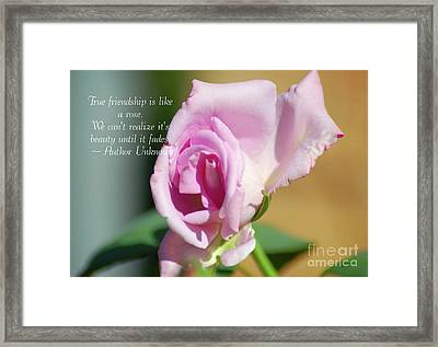True Friendship Is Like A Rose Framed Print