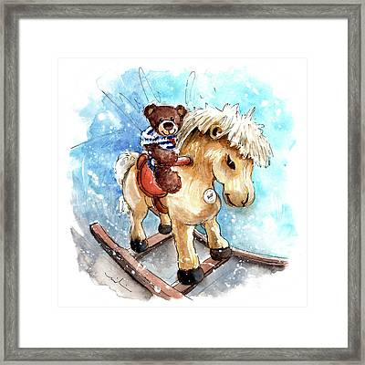 Truffle Mcfurry Riding A Pony In Helmsley Framed Print