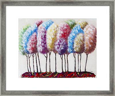 Framed Print featuring the painting Truffula Forest by Teresa Wing