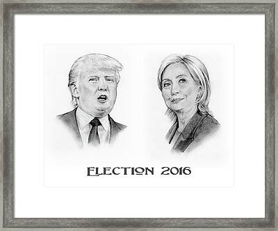 Trump And Hillary Pencil Portraits Election 2016 Framed Print