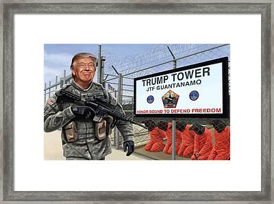 Donald Trump On Patrol Framed Print