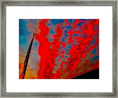 Trump Red Sunset Meets American Flag Framed Print