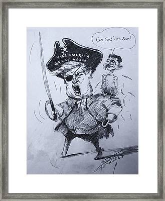 Trump, Short Fingers Pirate With Ryan, The Bird  Framed Print by Ylli Haruni