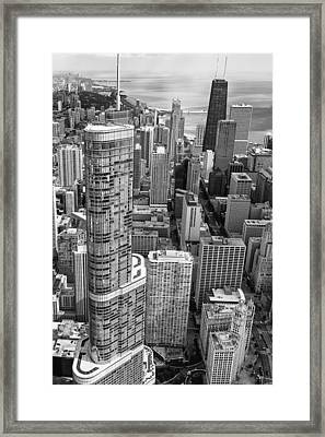 Trump Tower And John Hancock Aerial Black And White Framed Print