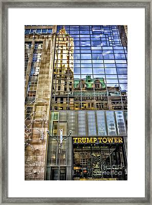 Framed Print featuring the photograph Trump Tower With Reflections by Walt Foegelle