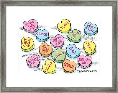 Trump Valentines Candy Uncensored Framed Print