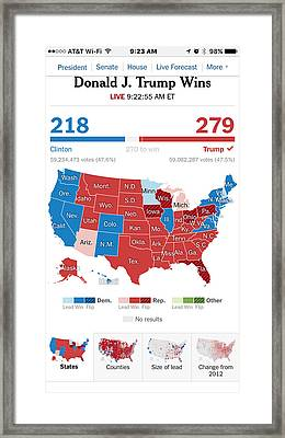 Trump Wins, Election Results  Framed Print