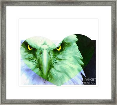 Trumped Green On Blue Framed Print by Catherine Lott