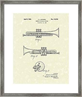 Trumpet 1940 Patent Art Framed Print by Prior Art Design