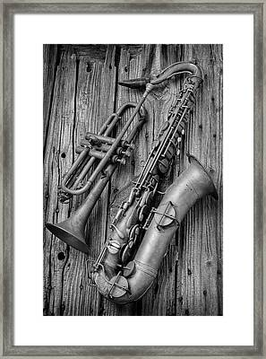 Trumpet And Sax Framed Print by Garry Gay