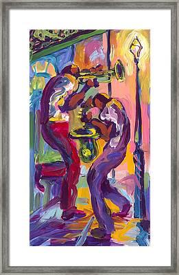 Trumpet And Saxophone Framed Print by Saundra Bolen Samuel